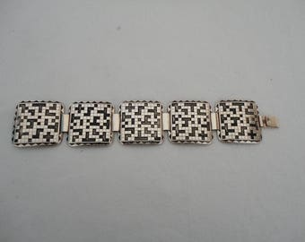 Vintage Eloxal Goldtone and Black Art Deco Style Panel Bracelet - 1970's Does Art Deco - Geometric Design
