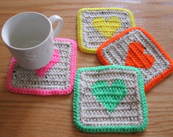 Heart Coasters. Neutral, crochet coaster set with neon hearts. Set of 4 cup coasters