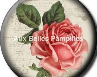 Round cabochon resin 25 mm - glue (1240) - rose flower, floral, nature