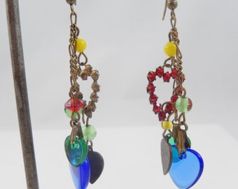 Vintage 1970s Three Dangles with Hearts Pierced Earrings