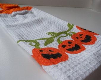 Sale - Halloween Kitchen Hanging Towels - Crochet Top