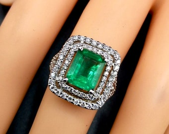 NATURAL 3.79TCW Emerald & VS Diamonds in 18k solid white gold ring engagement wedding Colombian zambian Double halo modern genuine art huge