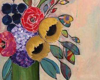 Orignal Floral Painting l Flower Art l Original 11x 14 Wood Board l Abstract Flowers l