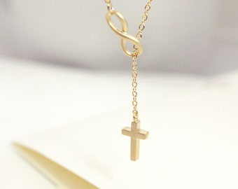 Cross Infinity necklace, Cross lariat necklace, Cross and Infinity Lariat, Forever, christmas gift,