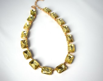 Yellow Anna Wintour Necklace, Citrine Necklace. Georgian Paste Collet, Riviere Necklace Yellow, Statement Necklace18th Century, 19th Century