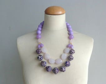 purple necklace, purple statement necklace, double strand necklace