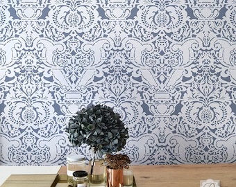 Fortuny Fabric Damask Wallpaper Wall Stencil - Large Wall Pattern - Old World European Vintage Victorian Farmhouse Shabby Chic