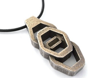 Futuristic Jewelry, Mens Necklace, Statement Jewelry, Stainless Steel and Bronze Hex Nut Artifact Design Pendant