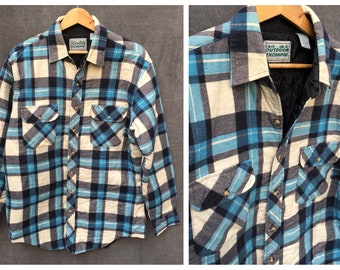 Vintage Quilted Plaid Flannel Shirt by Outdoor Exchange - Men's Large