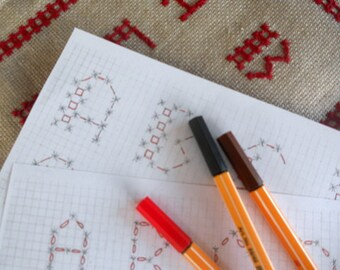 Scheme, in two variants, to embroider the letters of the alphabet in Broderie Suisse