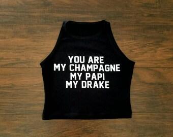 Champagne Papi Drake Crop Top