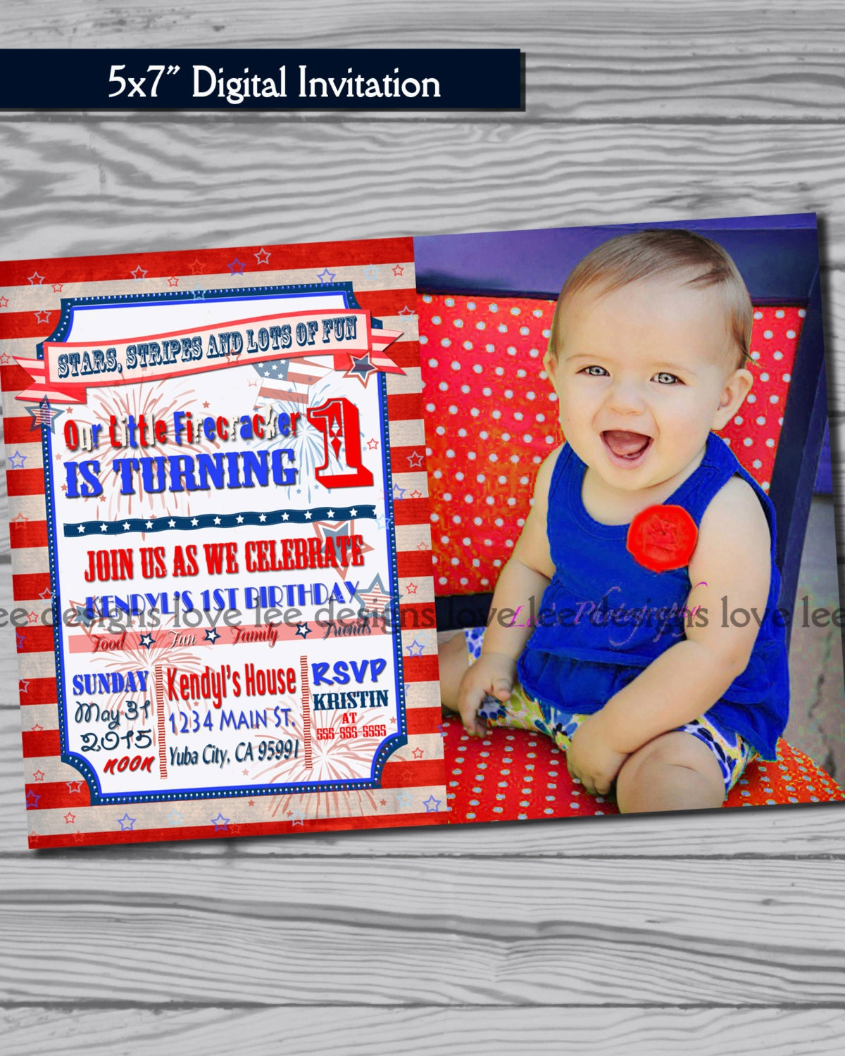 Little Firecracker Fourth Of July Birthday Invitation 4th