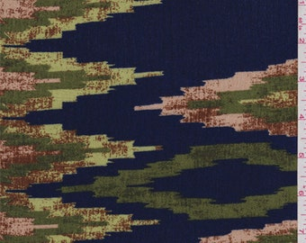 Bright Navy Flamestitch Rayon Crepon, Fabric By The Yard