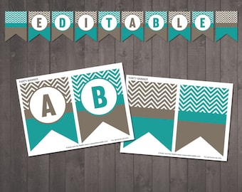 PRINTABLE editable chevron banner - happy birthday, welcome home, any message, personalised banner  -  INSTANT DOWNLOAD