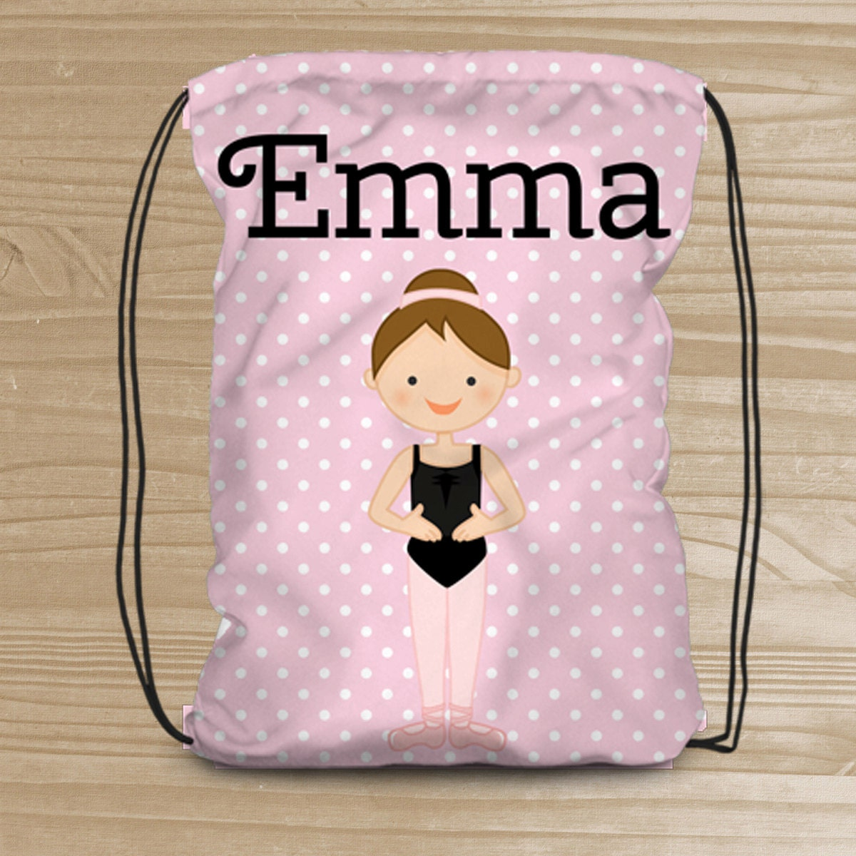 Personalized Dance Bag For Girls Drawstring Backpack