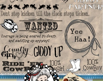 Cowboy / Cowgirl, Word Art, Sentiments, Photography overlay, Clipart, Instant Download, Digital Stamps, Digi, ID:NV-WA0004 By Nana Vic