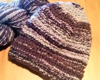 Beanie hat,- purple merino, adult