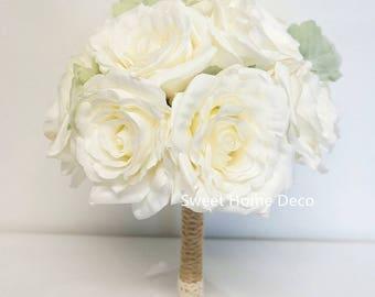 JennysFlowerShop Super Soft Silk Rose Wedding Bouquet in White Bridal Bridesmaid Flower Girl Toss Bouquet Boutonniere
