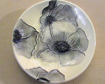 "Black & White Watercolor Poppies!  One of a Kind Handmade Ceramic jewelry, soap, trinket, ring dish    5""                  #2"