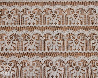 Nylon Lace Fabric - 1 3/8 Yard - Lace Yardage / Lace Fabric / Ecru Lace / Nylon Lace / Apparel Lace / Lace by Yard / White Lace / Lace Piece