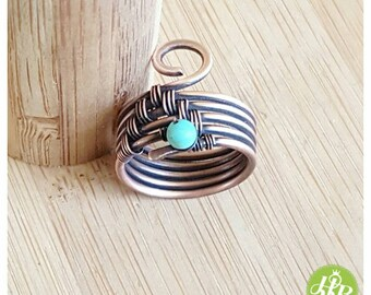 Band ring turquoise, wire wrapped ring, turquoise ring, copper wire ring, woven ring, blue stone ring, turquoise jewelry copper wire jewelry