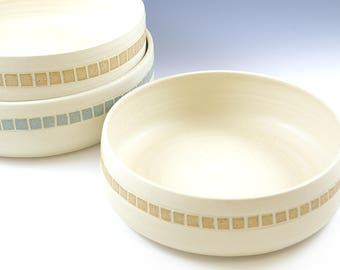 Low Bowl, Large Pottery Ceramic Fruit Serving Bowl, Pottery Shallow Bowl, Gourmet Gift, Handmade White Ceramic Bowl, Food Gift Idea