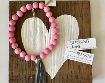 Blessing Beads, Baby Pink and Gray Blessing Garland,  Inspirational Garland, Baby Decor, Baby Girl Gift