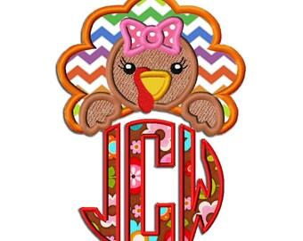 Turkey Girl Monogram Topper Embroidery Design dst, exp, hus, jef, pes, sew, vip, vp3, Formats Digital INSTANT DOWNLOAD