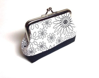 black and white Floral print coin purse
