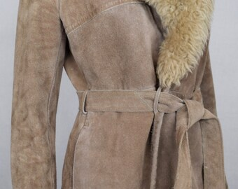 Vintage 1970's Women's Light Brown Suede Leather SHEARLING TriMMeD HiPPiE BoHo Long Coat size S M
