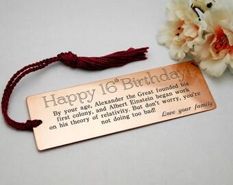 16th birthday bookmark engraved bookmark custom gift custom engraved bookmark gift for him gift for her personalised gift metal bookmark