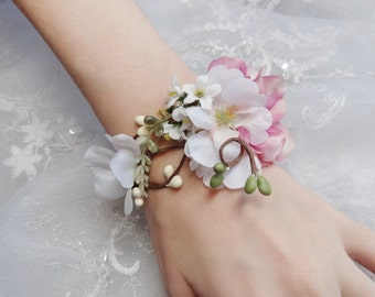 wedding cuff bracelet, bridal bracelet, pink flower accessory -MAYPOLE- wrist corsage, pink corsage, pearls, crystals, mother of the bride