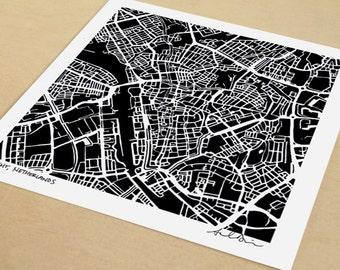 Utrecht Map, Hand-Drawn Map Print of Utrecht, Netherlands