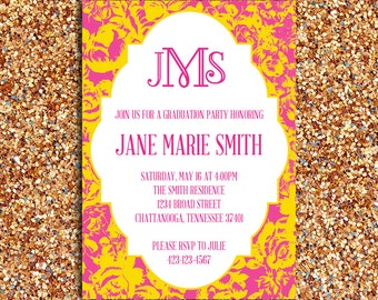 Printable – Floral Pattern Preppy Graduation Party Invitation with Monogram