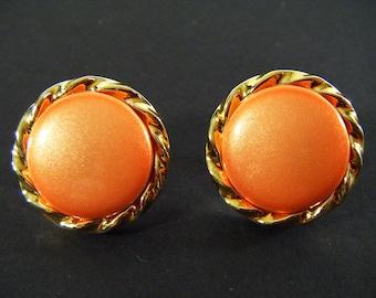 Vintage 80's Orange & Gold Round Shaped Pierced Earrings