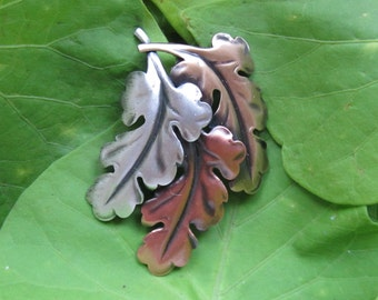 LEAVES BROOCH- Leaves Pin- Fall Brooch-Pin Pendant- Leaf Accessories- mixed metal jewelry