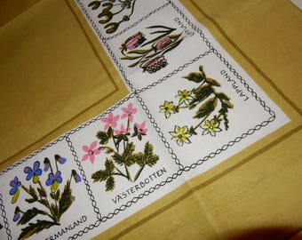Beautiful swedish hand printed table cloth  / landshape / province names