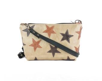 OOAK Beige&Matte black with brown stars - leather purse - leather bag - leather crossbody bag/ bolso beige y negro con estrellas marrones