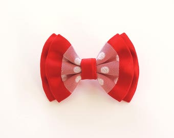 white polka dot red tulle bow brooch