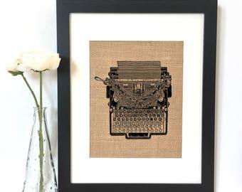 Typewriter Burlap Print // Rustic Home Decor // Office Decor
