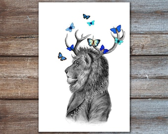 Art Print, Illustration, Lion in Suit, Art Posters, Animals in Clothes, Antler Art Butterflies Poster, House Decor.