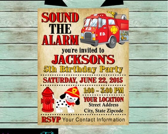Fire Truck Engine Birthday Party Invitations Invites Personalized Custom ~ We Print and Mail to You