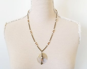 Boho Layering Necklace - Beaded Layering Necklace - Boho Charm Necklace - Layering Pendant Necklaces - Boho Shell Necklace