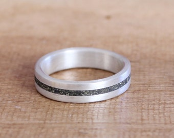Mens Wedding Ring, Women Band, Sterling Silver Wedding Ring with Pyrite Inlay