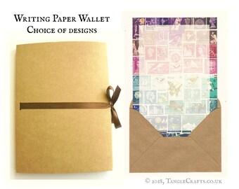 Letter Writing Gift Set, Writing Paper Wallet | Postage Stamp Design Stationery Set | Postal Stamp Print Paper Mail Art Penpal Notepaper Set