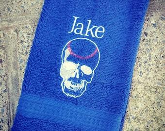 Personalized Baseball Skull Sweat Towel, Gym Towel, Personalized Towel, Sports Towel, Batter Up