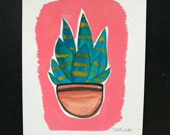 Succulent Original Painting // Hand Painted // Gouache Painting // Opaque Watercolor Painting // 5 inches x 7 inches