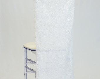 White Glitz Mesh Sequins Chiavari Chair Cover