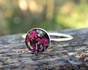 Real Flower Bezel Ring, Sterling Silver, Jewellery, Terrarium, Jewelry, Accessory, Botanical, Floral Jewelry, Nature, Hippie, Bohemian, Ring