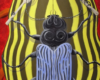Original Painting - Stylized Beetle Art - Colorful Wall Art - Price Reduced